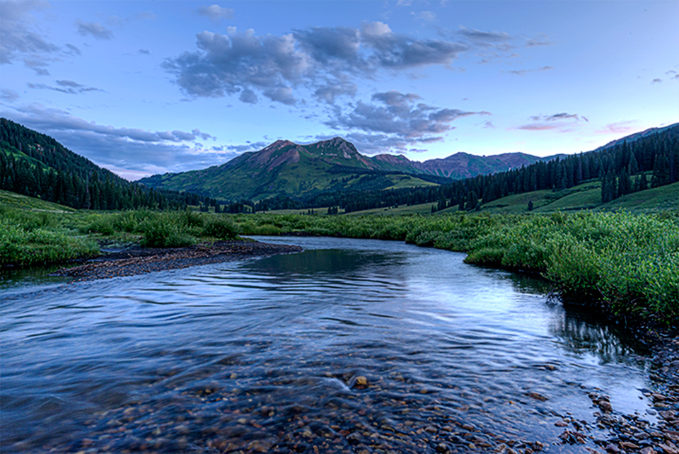Blue hour along the East River in Gothic, Colorado